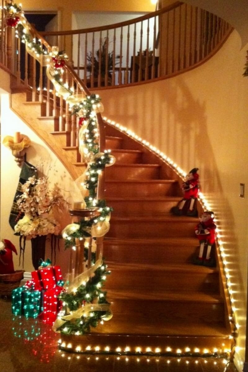 Staircase Christmas Decorations  Top 15 Christmas Stairs Decor for a Festive Staircase