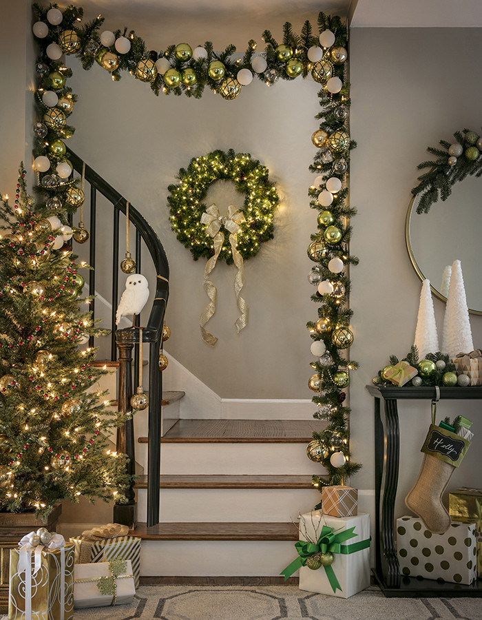 Staircase Christmas Decorations  Christmas Decorating for Staircases