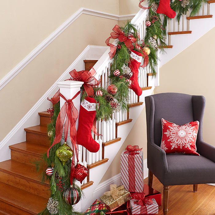Staircase Christmas Decorations  100 Awesome Christmas Stairs Decoration Ideas DigsDigs