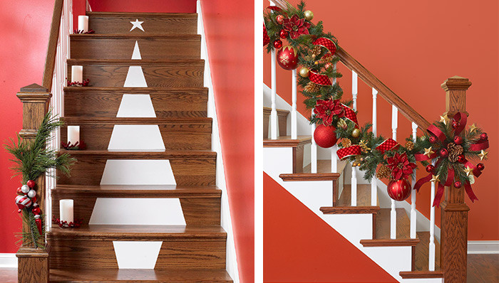 Staircase Christmas Decorations  Christmas Tree Stair Decoration