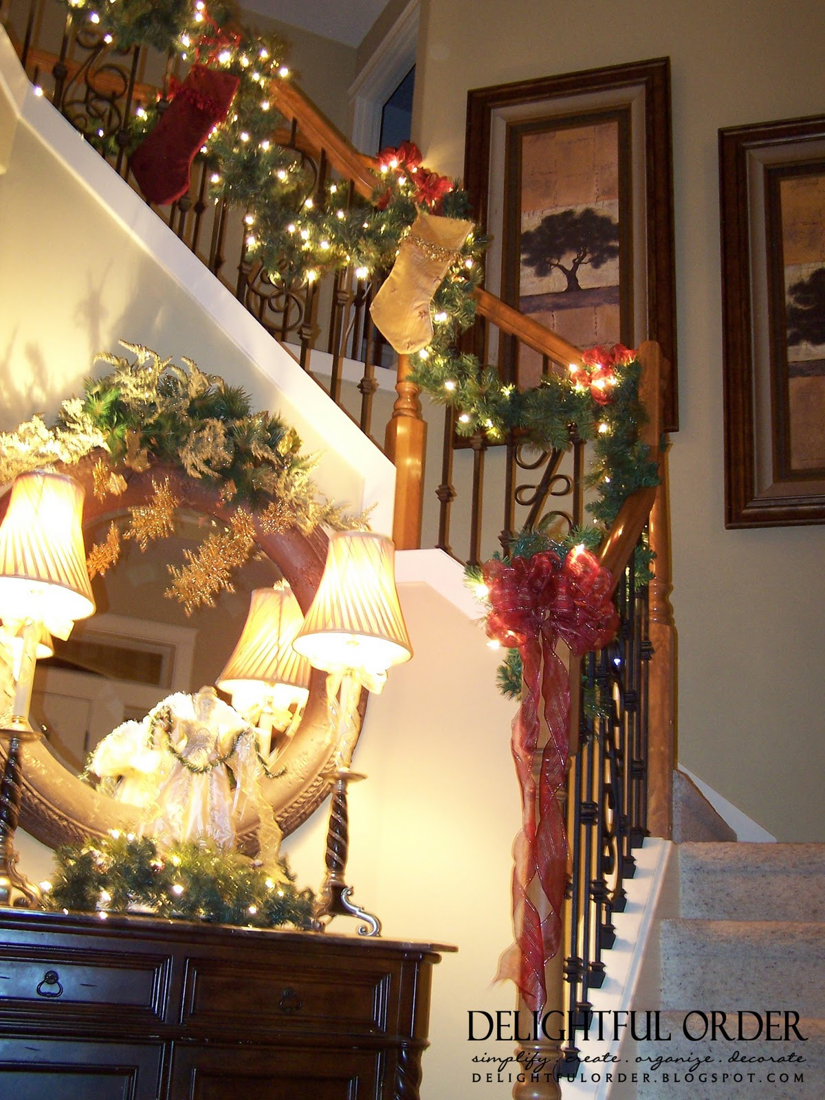 Staircase Christmas Decorations  Delightful Order Staircase Christmas Decorating