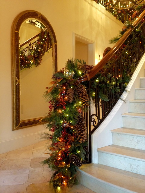 Staircase Christmas Decorations  Holiday Decor Stair banister garland Traditional