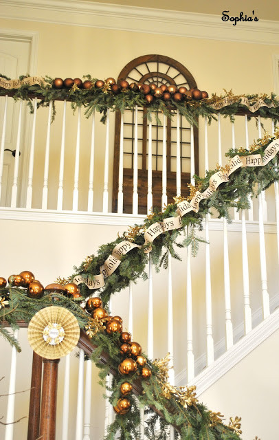 Staircase Christmas Decorations  Sophia s Christmas Stairs and Entryway