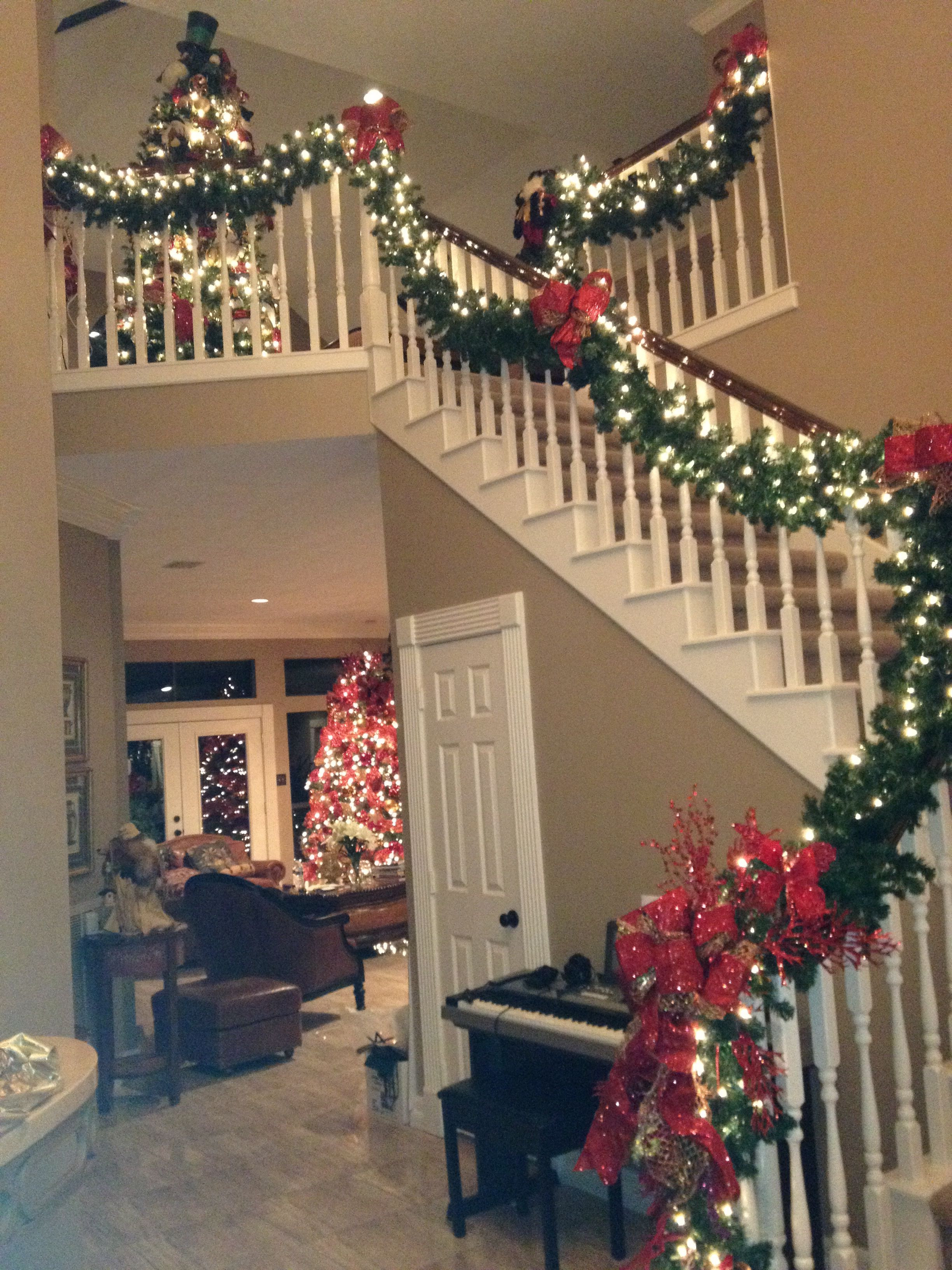 Staircase Christmas Decorations  Wrap it Design Holiday Decor Pinterest