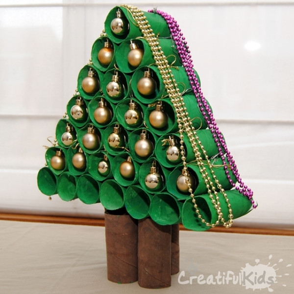 Toilet Paper Roll Christmas Tree  DIY Christmas Tree Ideas for a Waste Free Christmas