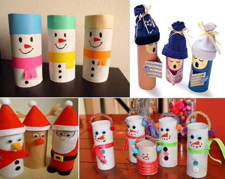 Toilet Paper Roll Crafts Christmas  Creative Ideas DIY Cute Yarn Winter Hat Ornaments
